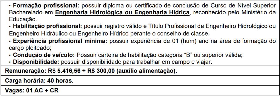 cargos 1 152 - Processo Seletivo AGERH - ES