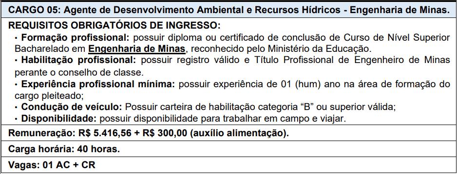 cargos 1 153 - Processo Seletivo AGERH - ES