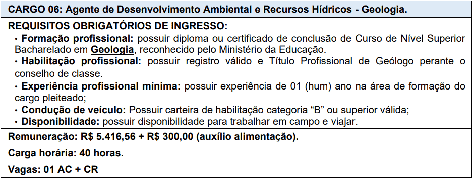 cargos 1 154 - Processo Seletivo AGERH - ES