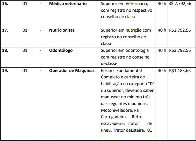 cargos 1 47 - Concurso Nova Brasilândia do Oeste-RO 2020: Inscrições encerradas