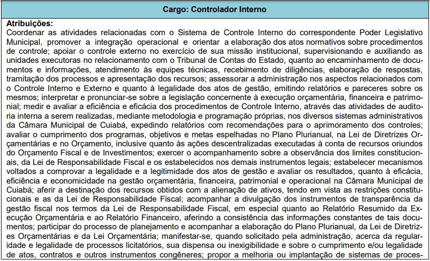 cargos 1 86 - Concurso Câmara de Cuiabá MT: Edital publicado! VEJA!