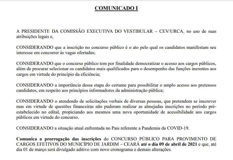 comunicado inscricoes prorrogadas pref jardim ce - Concurso Prefeitura de Jardim CE: inscrições PRORROGADAS