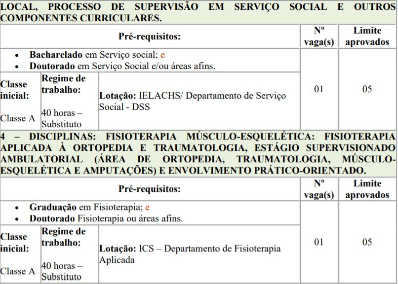 3 1 - Processo seletivo para Professor Substituto UFTM: Inscrições encerradas