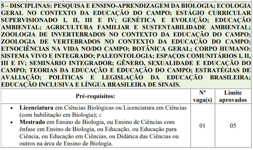 4 2 - Processo seletivo para Professor Substituto UFTM: Inscrições encerradas