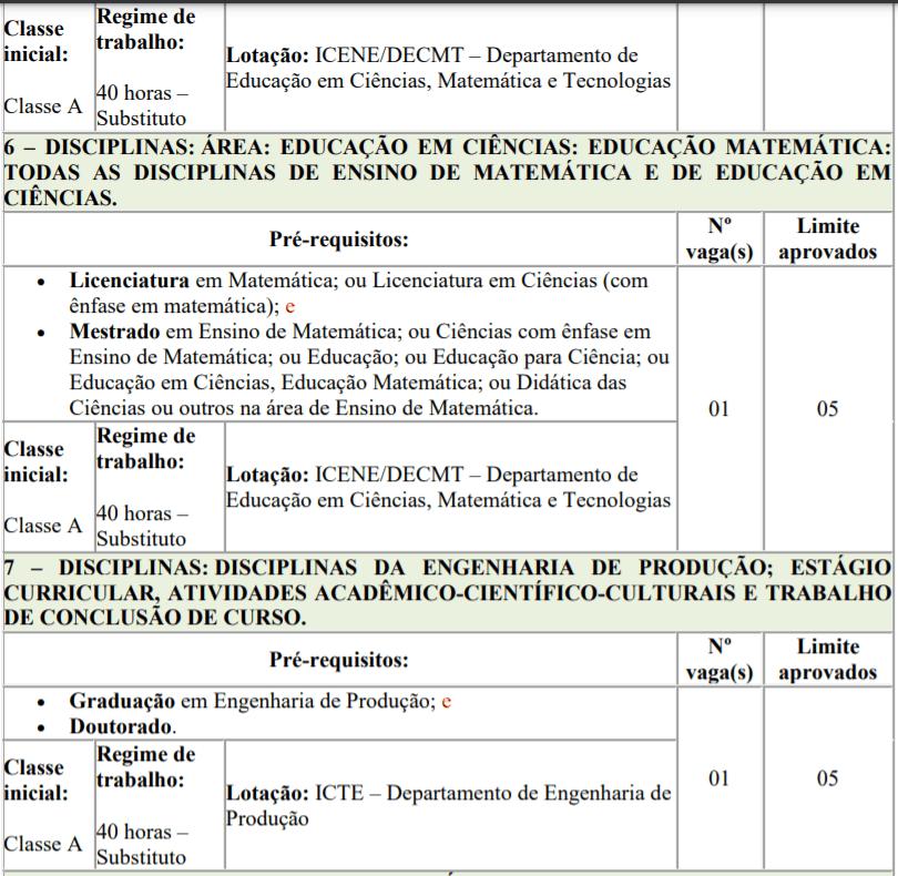 5 2 - Processo seletivo para Professor Substituto UFTM: Inscrições encerradas